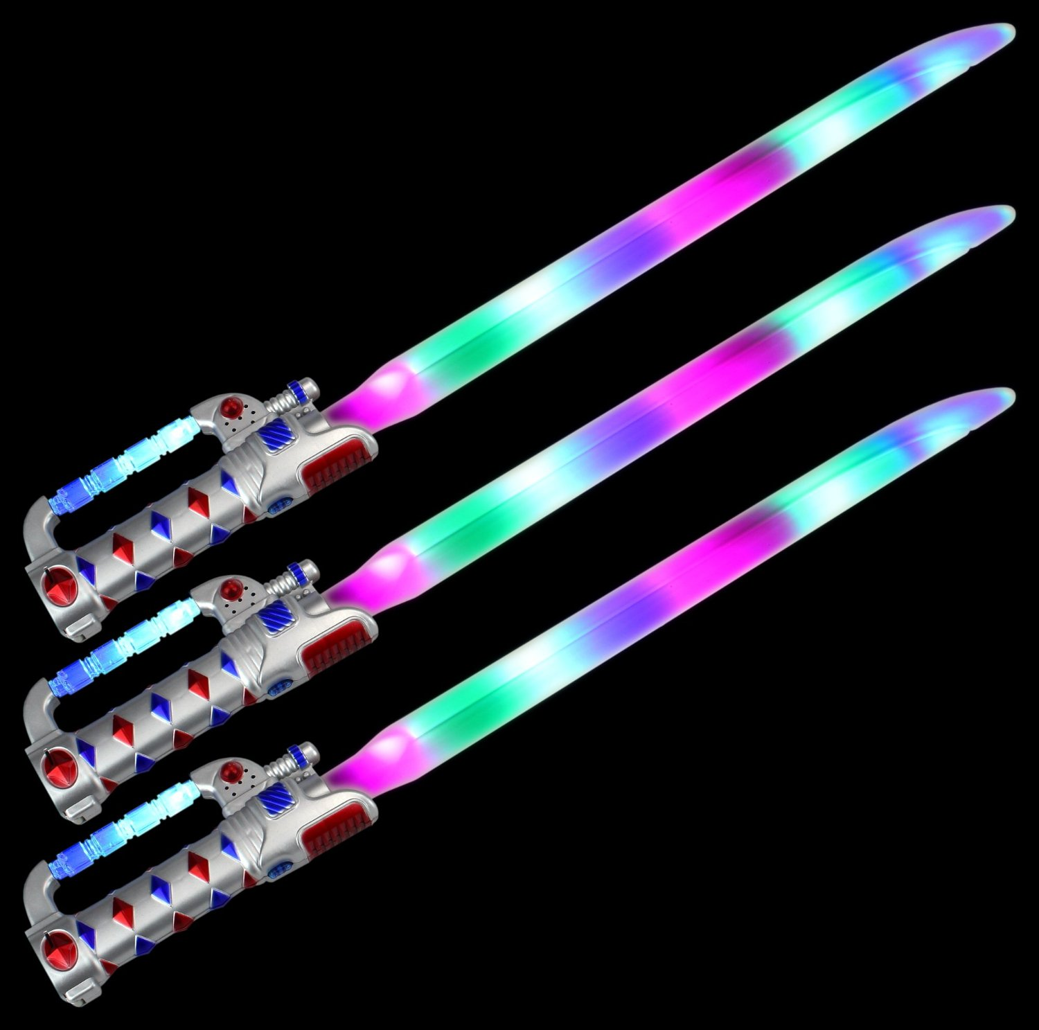 Set of 3 VT Space Knight Flashing LED & Clanging Sounds Party Favor Toy Light Up Sword Sabers (Colors May Vary)