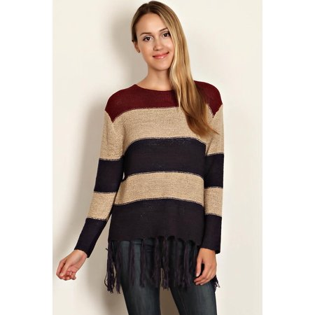 Multi Print Sweater - Womens Navy Tan Stripe Fringe Tunic Sweater Small