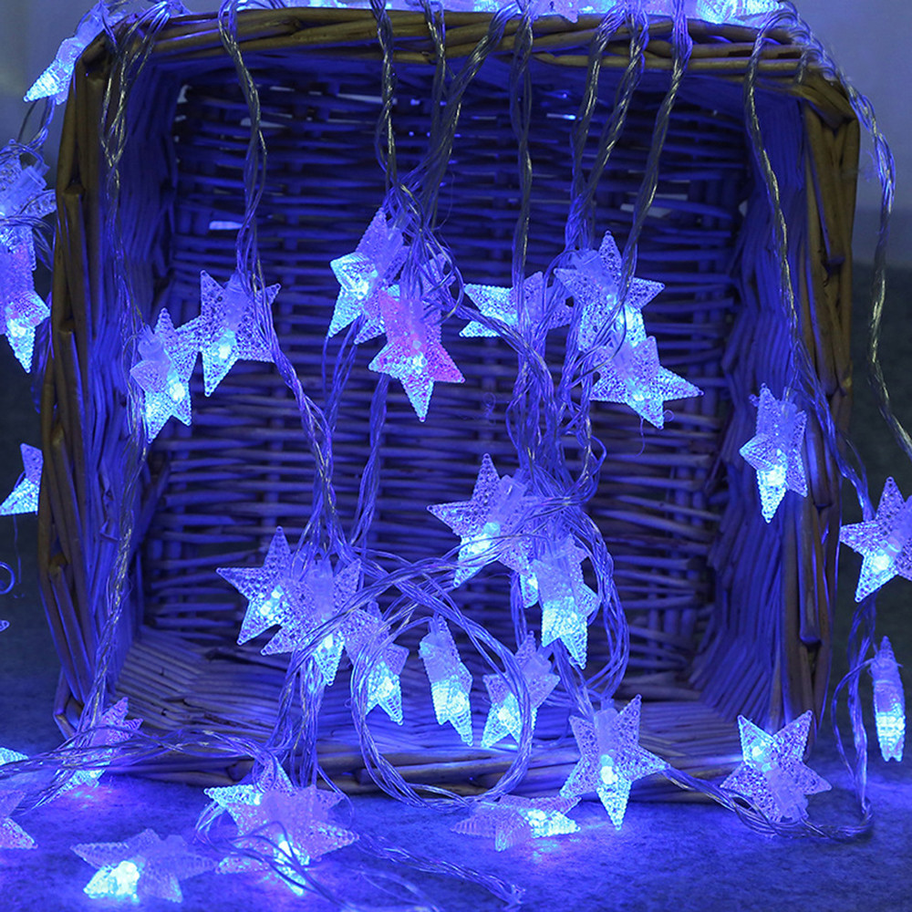 2M 10 LED Crystal Clear Star Fairy String Light Wedding Party Outdoor Decor Lamp