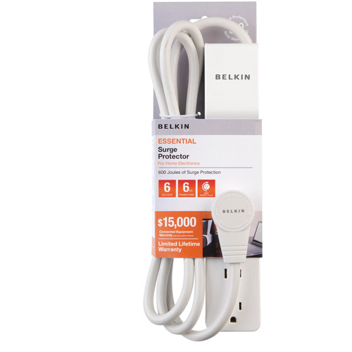 Belkin 6-Outlet Surge Protector, White