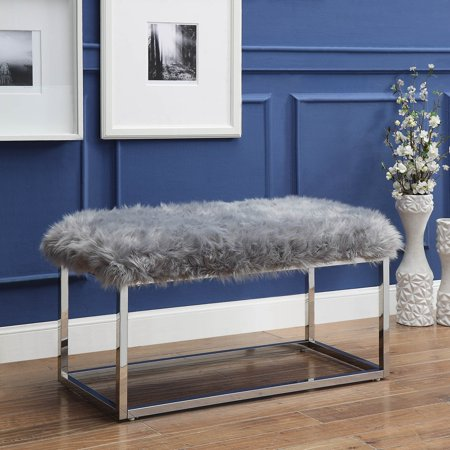Randy Grey Faux Fur Bench - Chrome Frame | Ottoman | Modern | by Inspired Home Asian Inspired Wood Bench