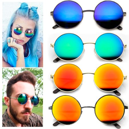 1 Pc Retro Vintage Round Sunglasses Shades John Lennon Frame Color Mirror Lens
