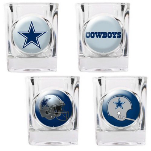 Great American Products Dallas Cowboys Shot Glass Set 4pc Collectors Shot Glass Set