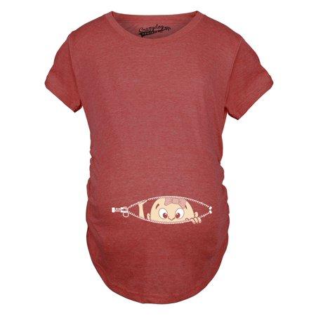 c979eecf2a03b Crazy Dog Funny T-Shirts - Maternity Baby Girl Peeking With Pink Bow Shirt  Funny Cute Pregnancy T Shirt - Walmart.com