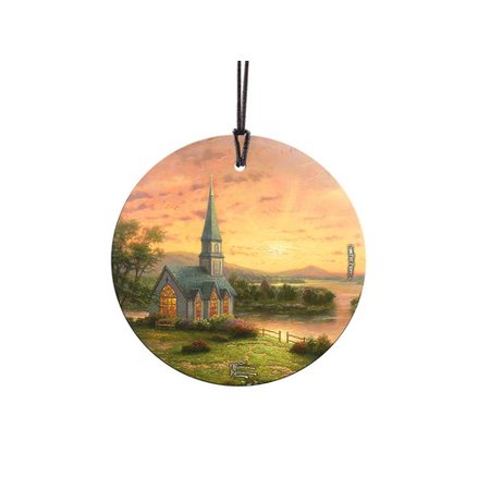 - Trend Setters Thomas Kinkade Sunrise Chapel StarFire Prints Glass Shaped Ornament