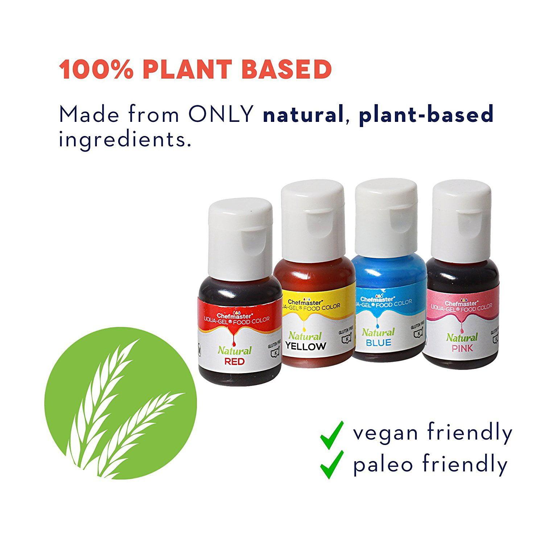 Chefmaster Natural Liqua-Gel Food Coloring 4 Color Kit, Blue Yellow Red  Pink, 1.5 oz Tin