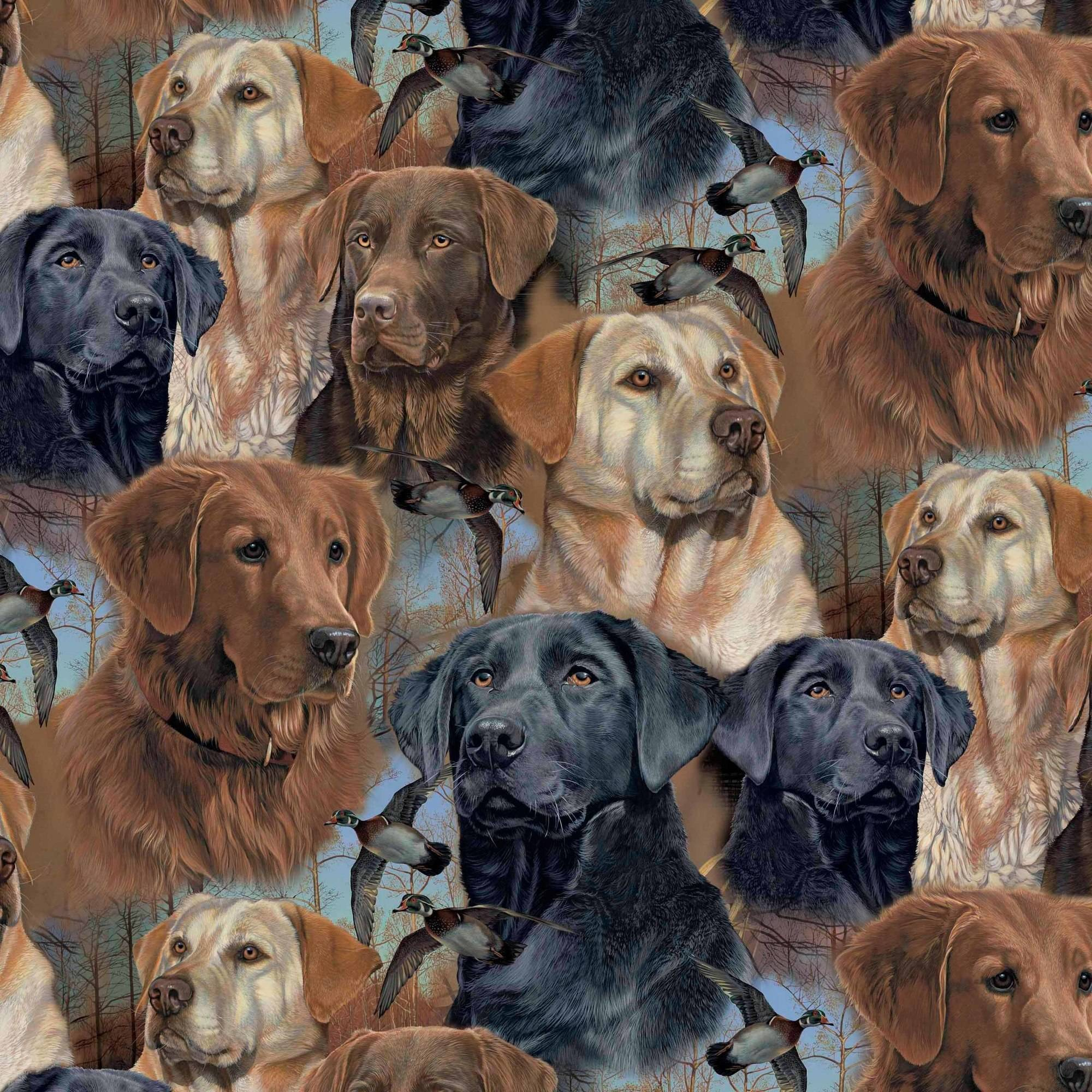 "Wild Wings Polyester Fleece 60"" Anti-Pill Hunting Dogs Fabric, per Yard"