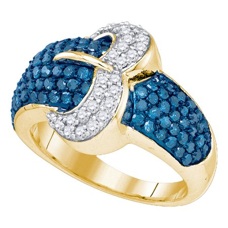 Blue Diamond Buckle Ring 10k Yellow Gold Belt Cocktail Band Dome Style Round Cluster Set Fancy 1-3/8 ctw