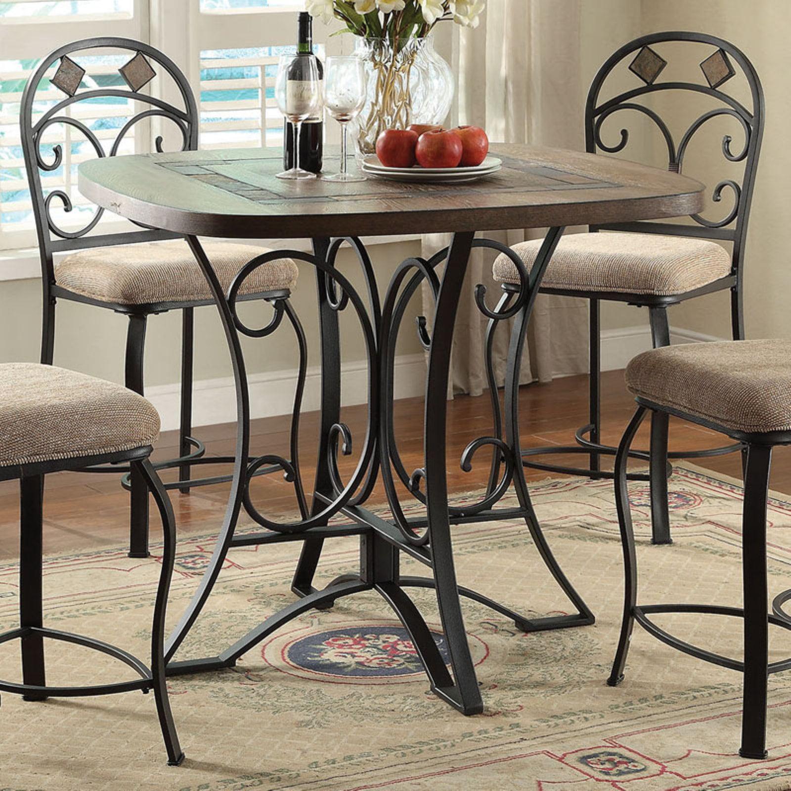 ACME Kiele Counter Height Table, Oak & Antique Black