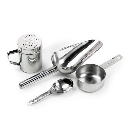 Olde Midway Stainless Steel Popcorn Machine Accessories - 4 Piece Set with Measuring Spoons, Scoop, and Salt Shaker