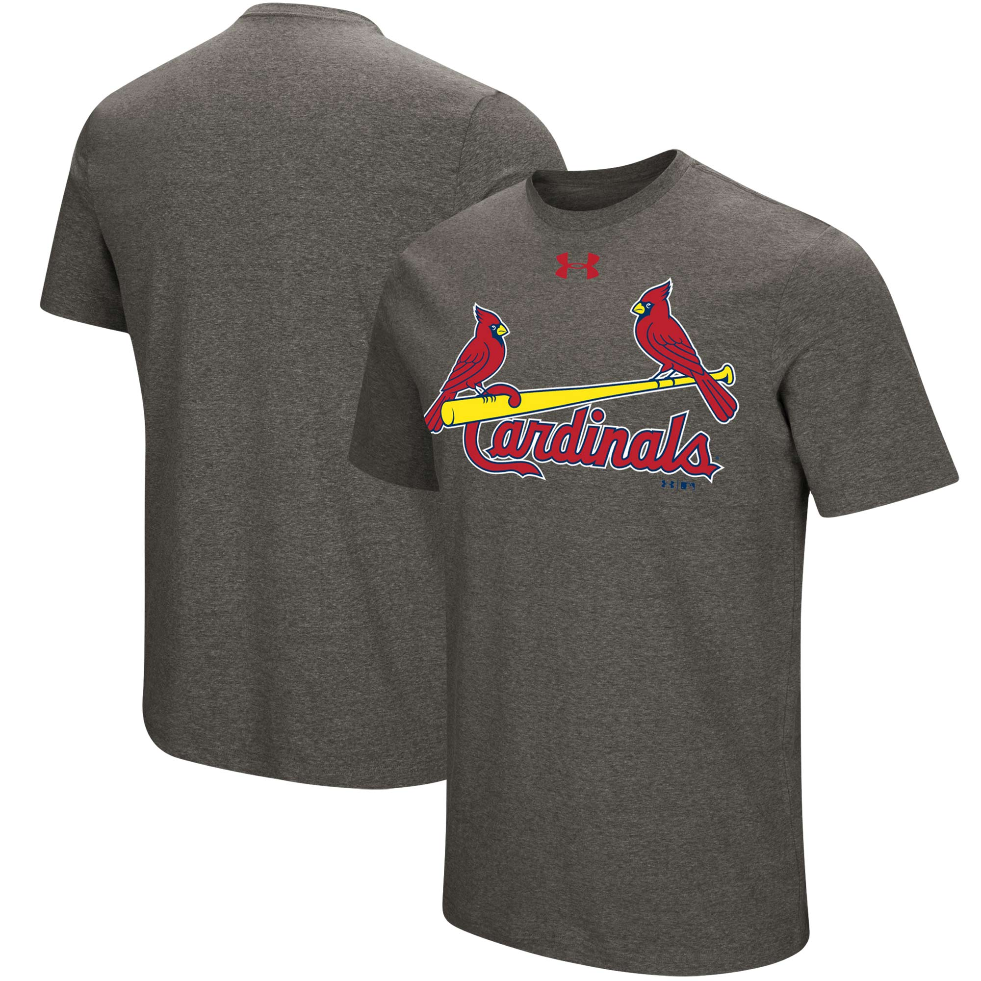 St. Louis Cardinals Under Armour Passion Road Team Font T-Shirt - Heathered Gray