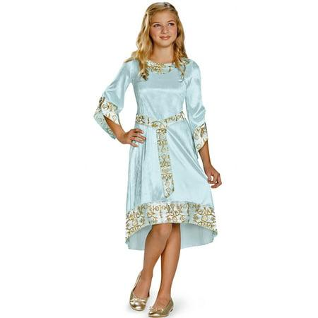 Maleficent Halloween Horns (Girls Blue Princess Aurora Disney Maleficent Dress Costume Large)