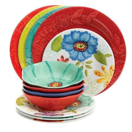 Multi Colored Dishes (Flora 12 Pc Mix & Match Embossed Melamine Dinnerware)
