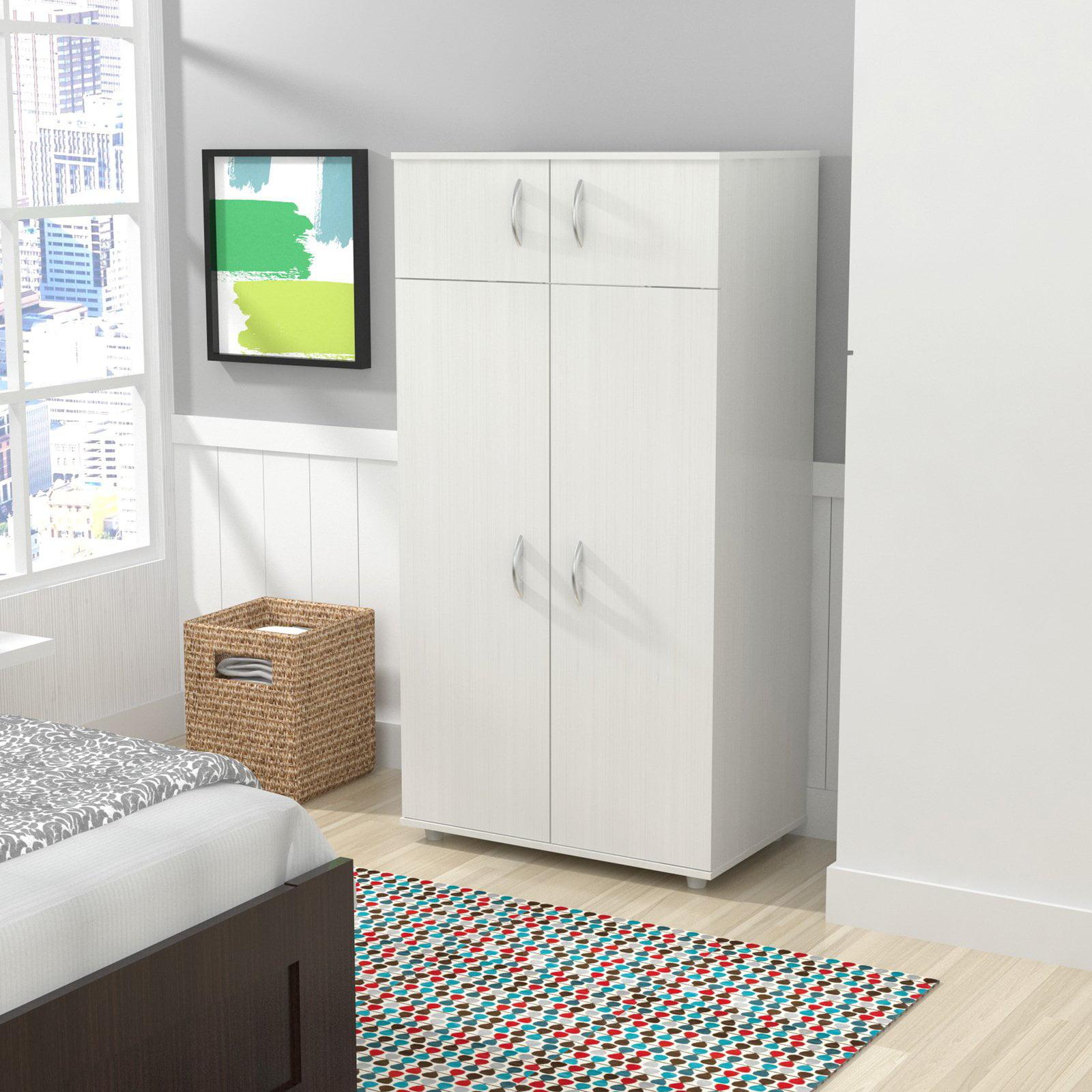 Inval Four-Door Wardrobe/Armoire, Larcinia-White