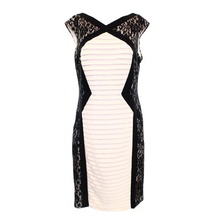 Jax New White Ivory Black Womens Size 14 Lace Panel Shutter Tiered