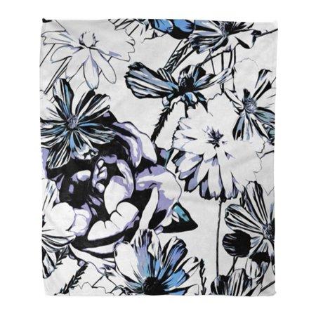 Laddke Throw Blanket Warm Cozy Print Flannel Monochrome
