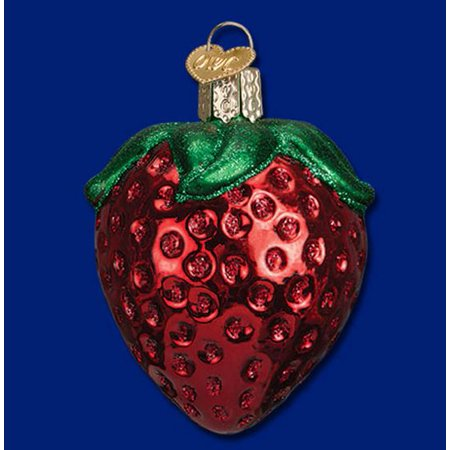 Old Fruit (Old World Christmas Summer Strawberry Fruit Glass Ornament 28106 New FREE BOX )