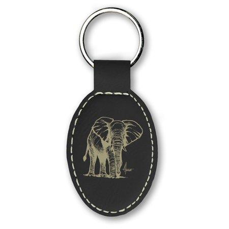 Keychain - African Elephant (Black)
