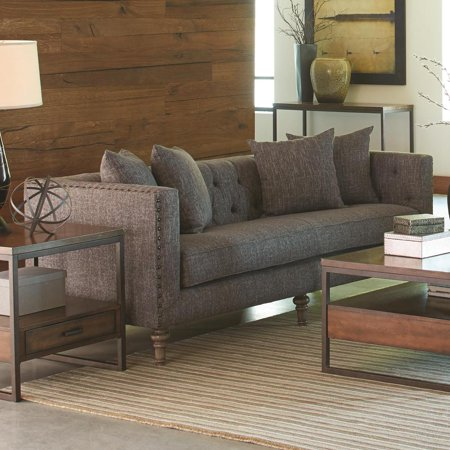Contemporary Linen Like Fabric & Wood Sofa With Tufted Seat Back, Weathered Gray ()