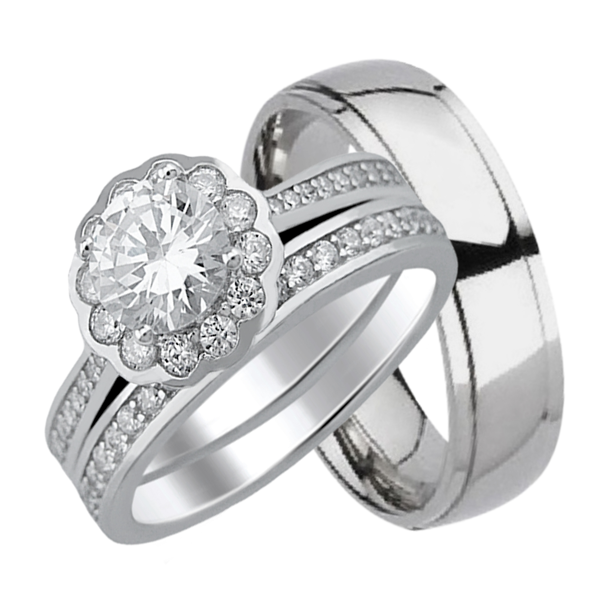 His and Hers Wedding Rings Halo Wedding Set for Women Mens Titanium