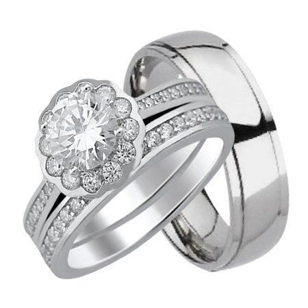 His and Hers Wedding Rings Wedding Set for Women Mens Titanium Wedding Band