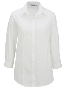 Ed Garments Broadcloth 3/4 Sleeve Maternity Stretch Shirt, WHITE, Medium