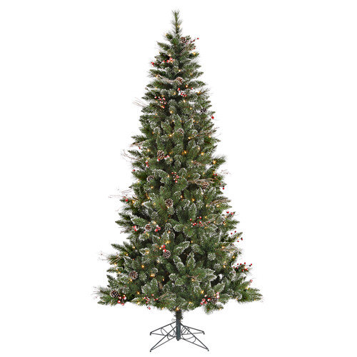 Vickerman 7' Green Snowtip Berry/Vine Artificial Christmas Tree with 350 Clear Mini Lights with Stand