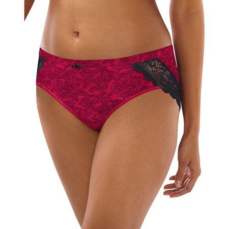 Bali Lace Desire Cotton Hipster Panty - Armature Red Print - Size - 6 (Bali Cotton Panties)