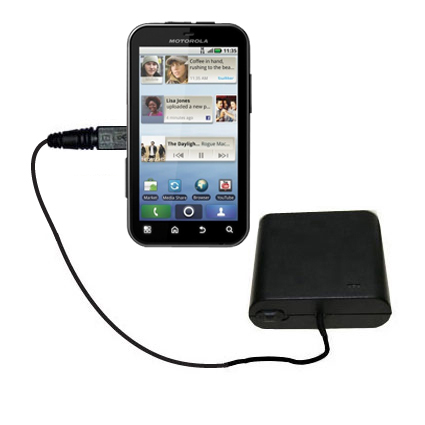 Portable Emergency AA Battery Charger Extender suitable for the Motorola DEFY - with Gomadic Brand TipExchange Technology