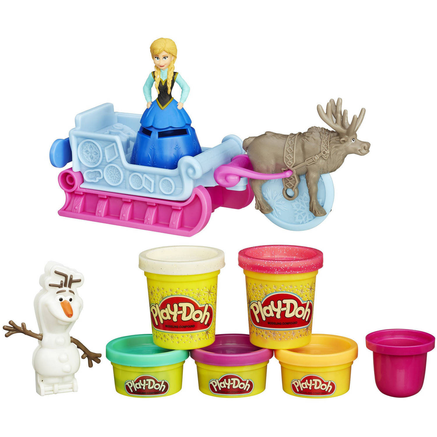 Play-Doh Disney Frozen Sled Adventure Set with 5 Cans of Dough Including 2 Sparkle Compound Cans
