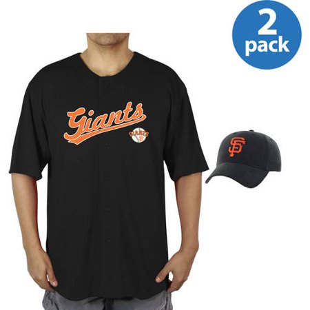 MLB San Francisco Giants Mens Poly Button Down Jersey and Cap Set, 2 Pack by