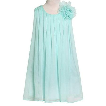 Flower Girl Dress Chiffon Pleaded with Flower Aqua 10 CJ104 (Aqua Eyelet Dress)