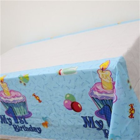 Baby Blue Plastic Table (Baby Shower Blue Plastic Disposable Tablecloth Table Cover Party)