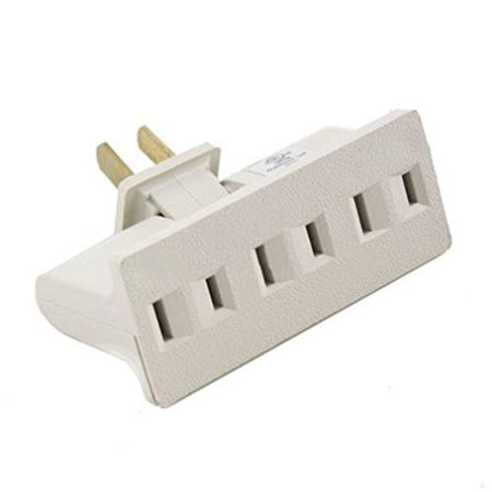 (Beige) 3 Outlet Grounded AC Power 2 Prong Swivel Light Wall Tap Adapter UL Listed , Color: Beige By Power Strips