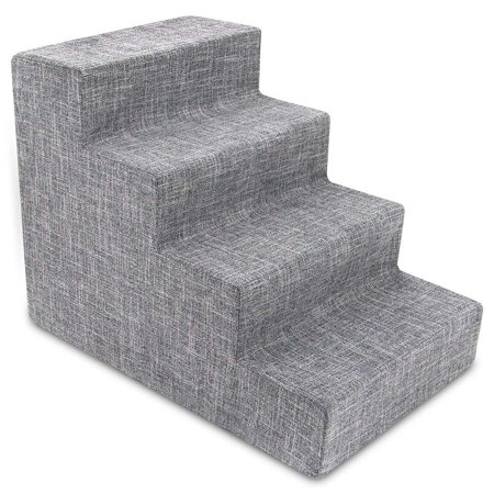 Best Pet Supplies Foam Pet Stairs 4-Step - Gray Linen, Medium (24 x 15 x 18