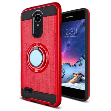 LG Rebel 4 Case, Phone Case for Straight Talk LG Rebel 4 Prepaid  Smartphone, Metal Texture Design Ring Stand Case (Red)