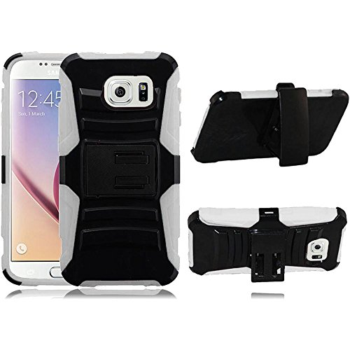 Samsung Galaxy S6 Case - Wydan Hybrid Rugged Kickstand Holster Belt Clip Case Hard Protective Heavy Duty Cover Black on White
