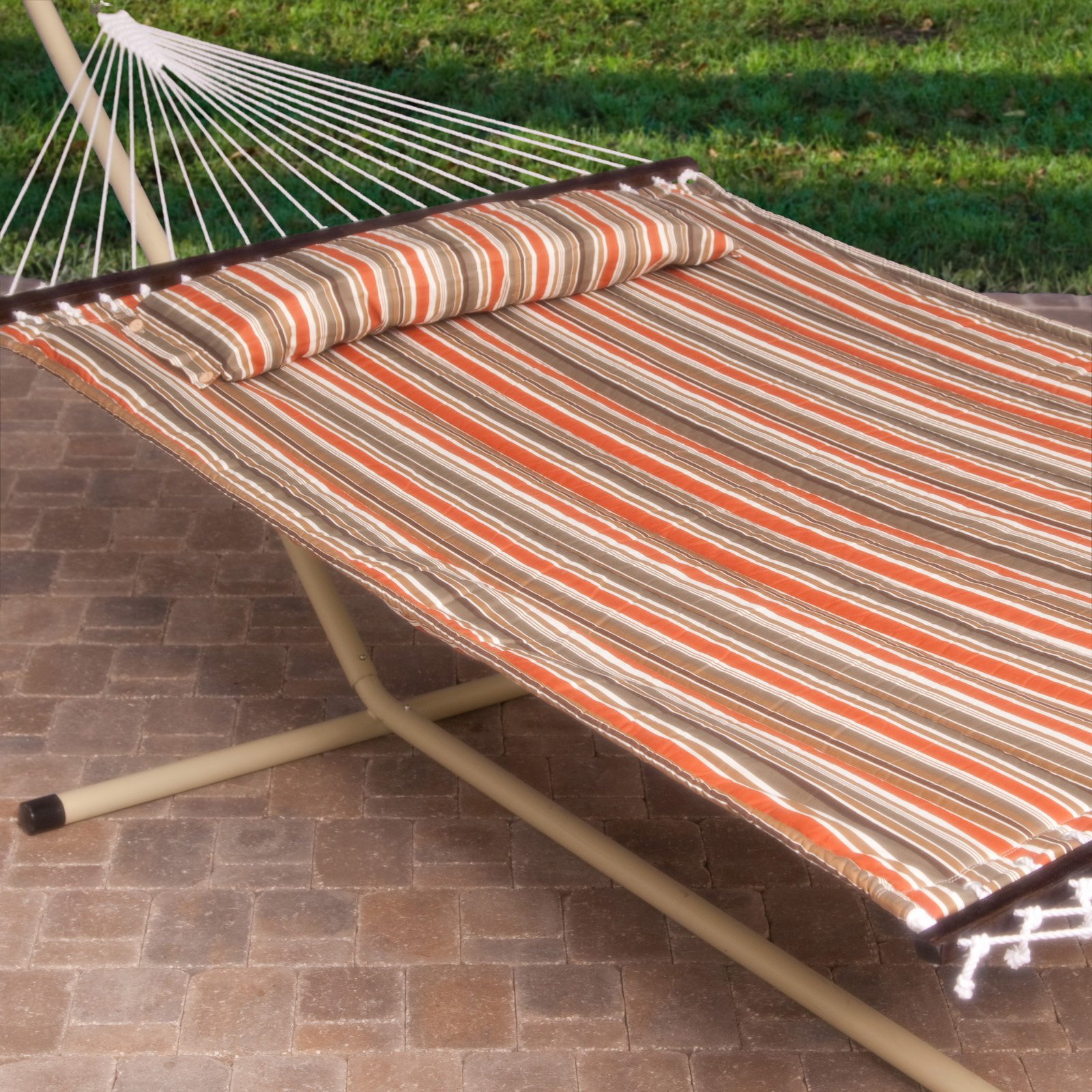 Island Bay 13 ft. Sienna Stripe Quilted Hammock with Steel Stand by