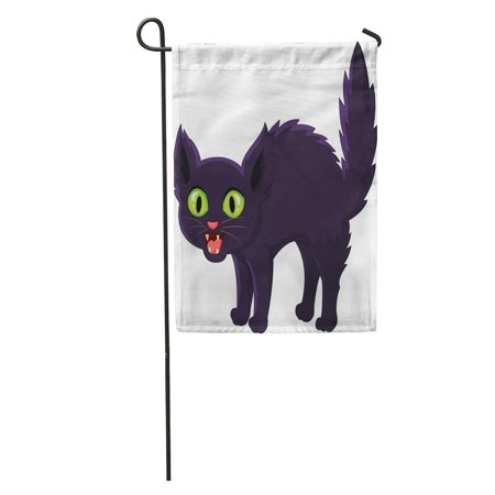 LADDKE Scared Frightened Cartoon Black Cat Halloween Angry Scary Bad Startled Garden Flag Decorative Flag House Banner 12x18 inch - Halloween Cartoons Scary