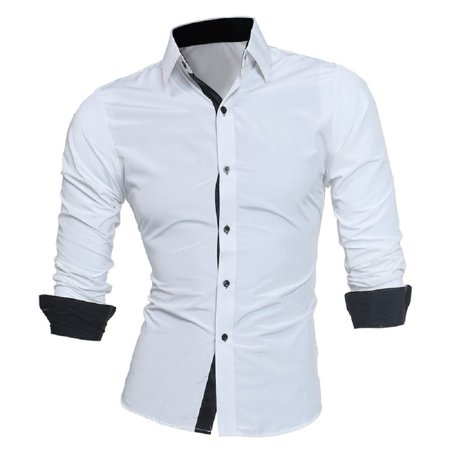 Mens Slim Fit Long Sleeve Cotton Shirt Casual Button Business Dress T-Shirt Tops - image 5 of 5