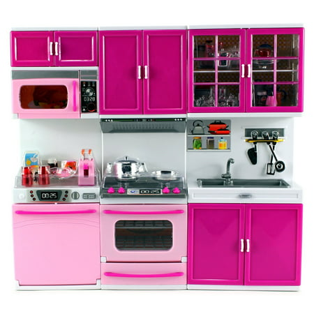 My Happy Kitchen Dishwasher Oven Sink Battery Operated Toy Doll Kitchen Playset w/ Lights, Sounds, Perfect for Use with 11-12