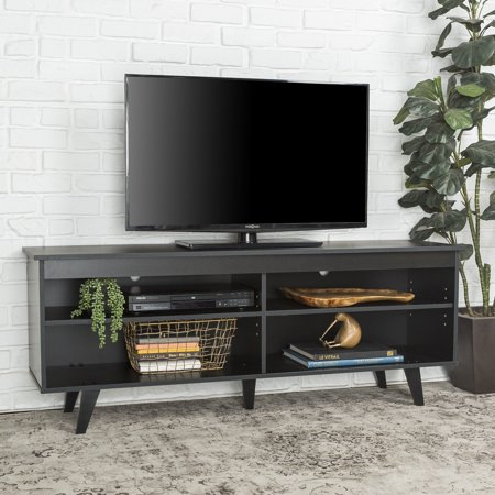 58 Mid Century Modern Wood Storage Media Console Tv Stand Black