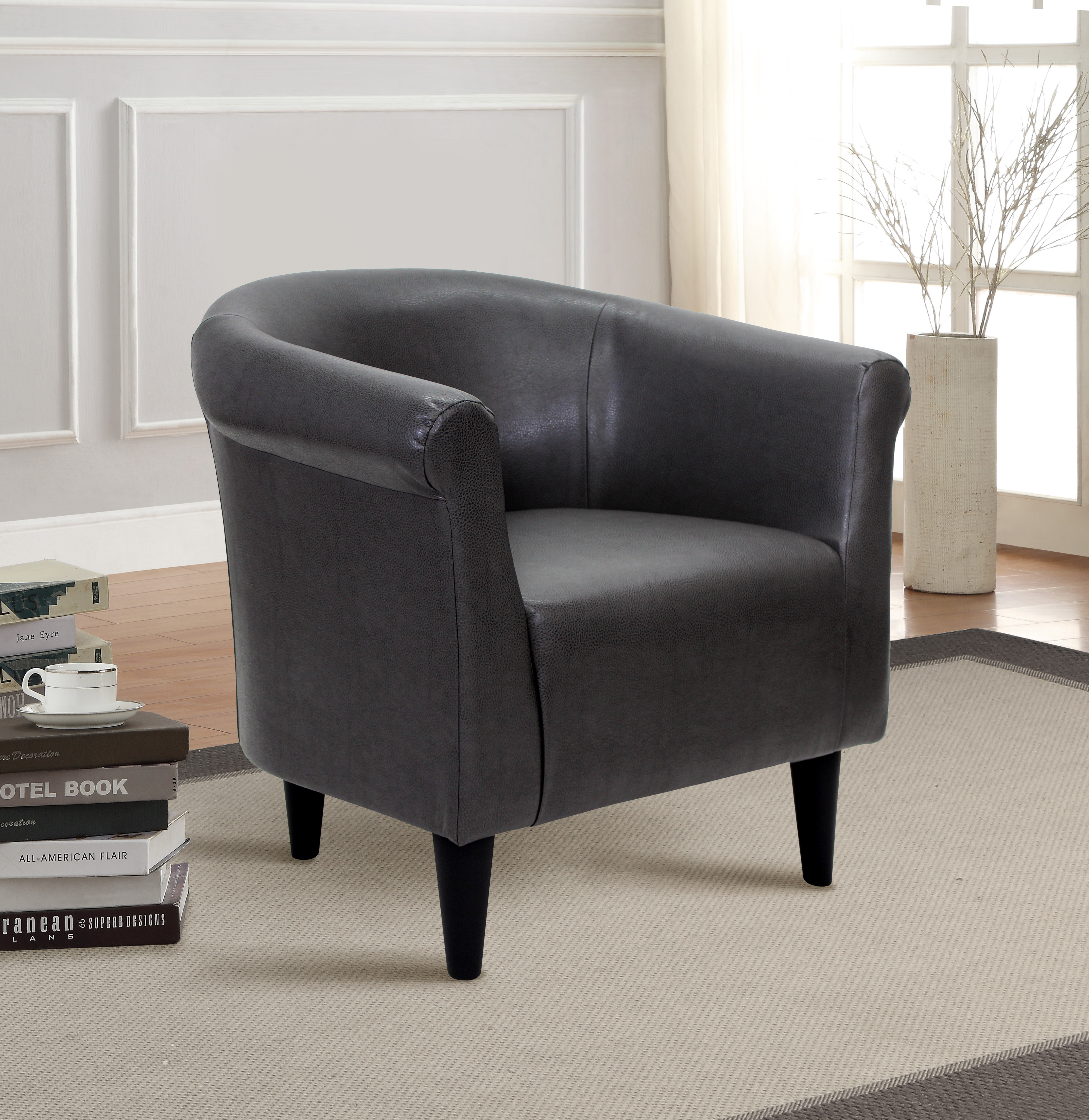 Mainstays Faux Leather Bucket Accent Chair by MAINSTAYS