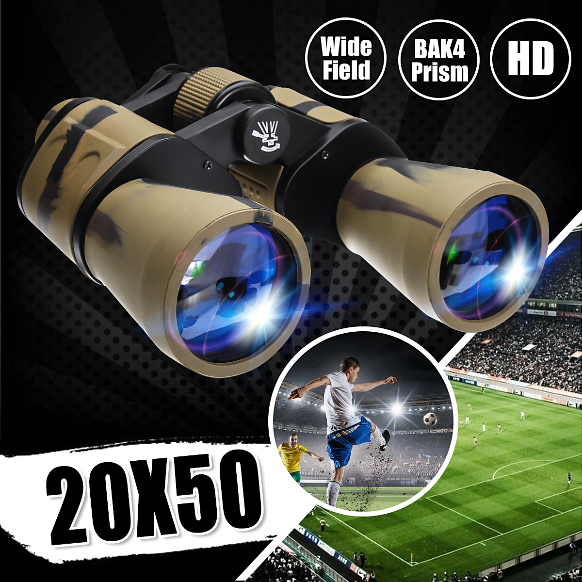 20X50 Magnification Binoculars Telescope Waterproof Portable Outdoor Low Light Vision Folding Telescope Bag for Sightseeing, Camping, Birdwatching, Hunting Kid Toy Christmas Gift