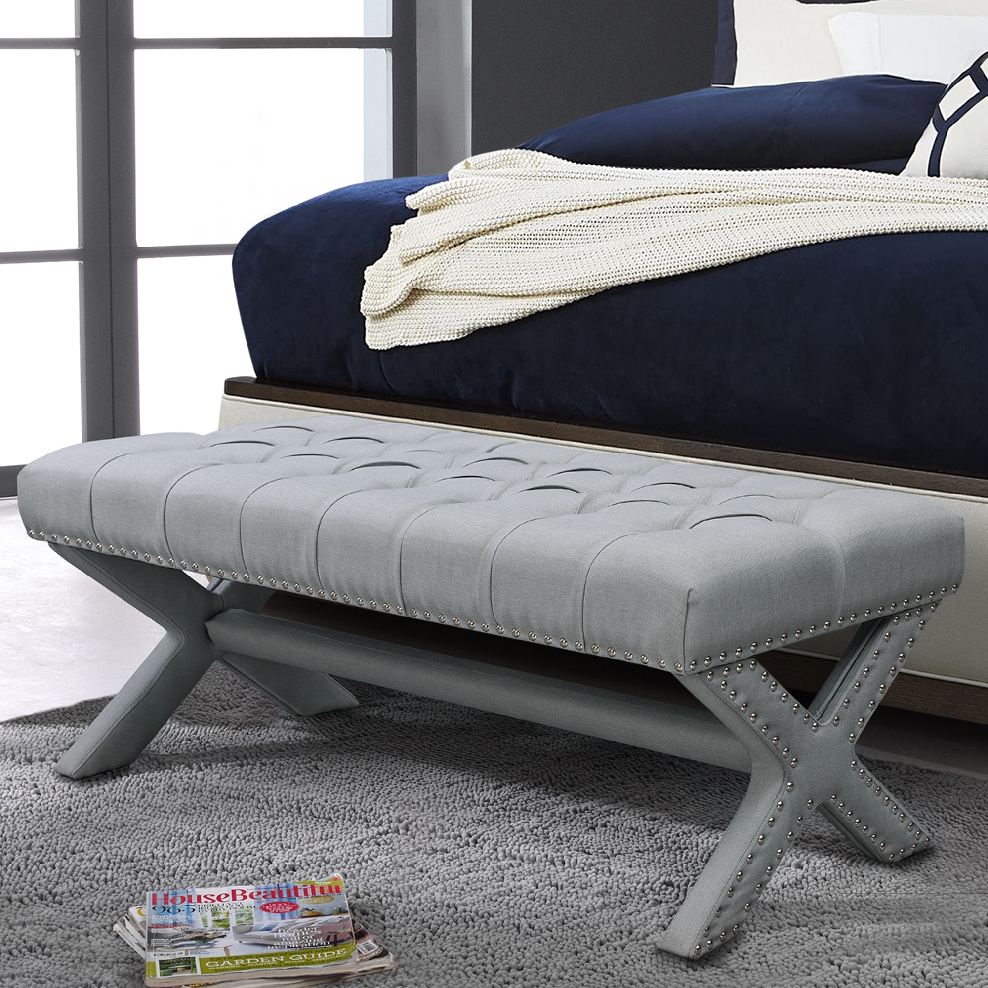 Lila Light Grey Linen X-Leg Bench - Button Tufted | Silver Nailhead Trim | Modern and Contemporary | by Inspired Home