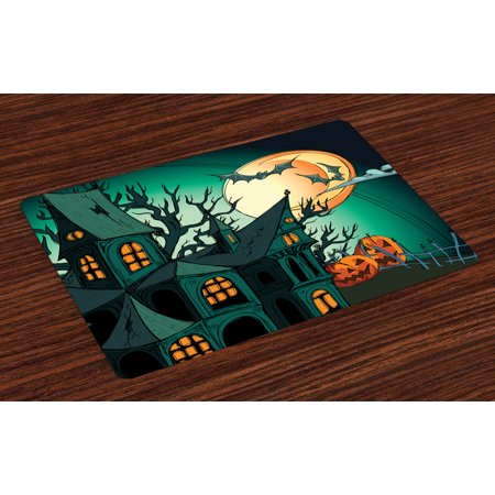 Halloween Placemats Set of 4 Haunted Medieval Cartoon Style Bats in Twilight Gothic Fiction Spooky Art Print, Washable Fabric Place Mats for Dining Room Kitchen Table Decor,Orange Teal, by - Halloween Cartoon Clip Art