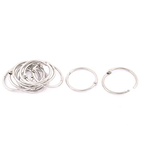 Book Office Metal Loose Leaf Binder Hinge Snap Ring Keyring 32mm Inner Dia 10pcs (Metal Book Rings)