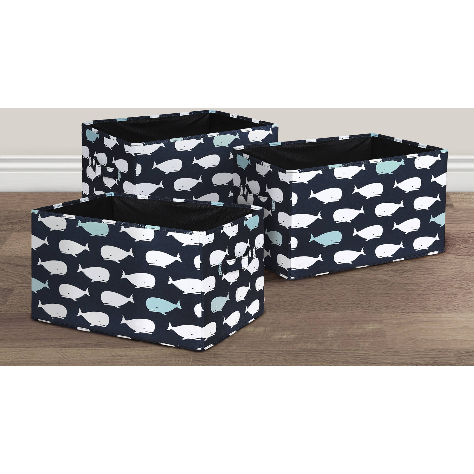 Whale Fabric Covered Collapsible Box Pink 3-Piece Set