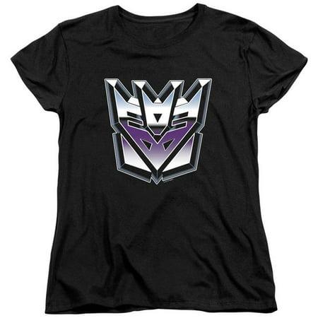 Trevco Sportswear HBRO136-WT-4 Transformers & Decepticon Airbrush Logo Print Womens Short Sleeve T-Shirt, Black - Extra Large - image 1 of 1