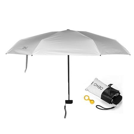 Portable Folding Rain Sun Umbrella 6-Rib Waterproof UPF 50+ UV Protection Umbrella with Black UVA